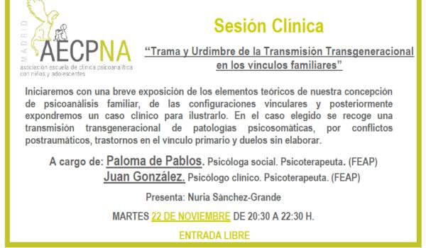 Cartel con la información de la sesión clínica